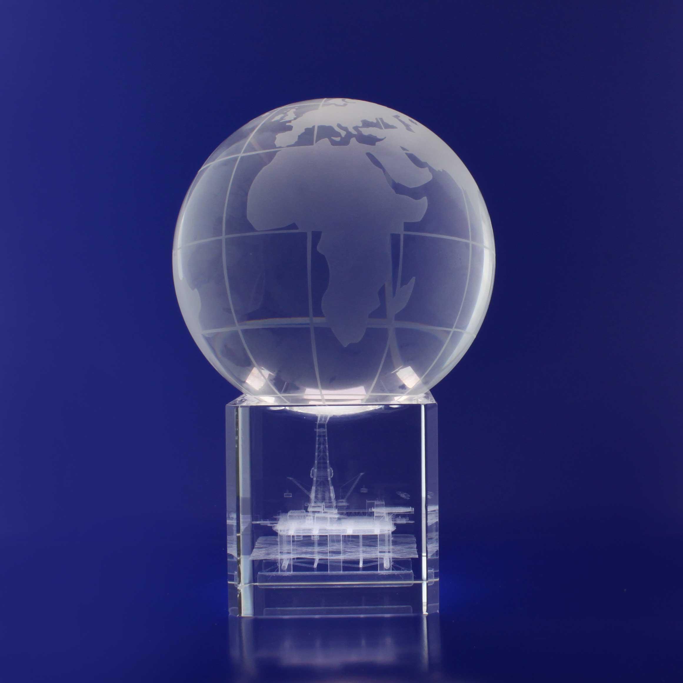 3D Crystal - Spinning Globe