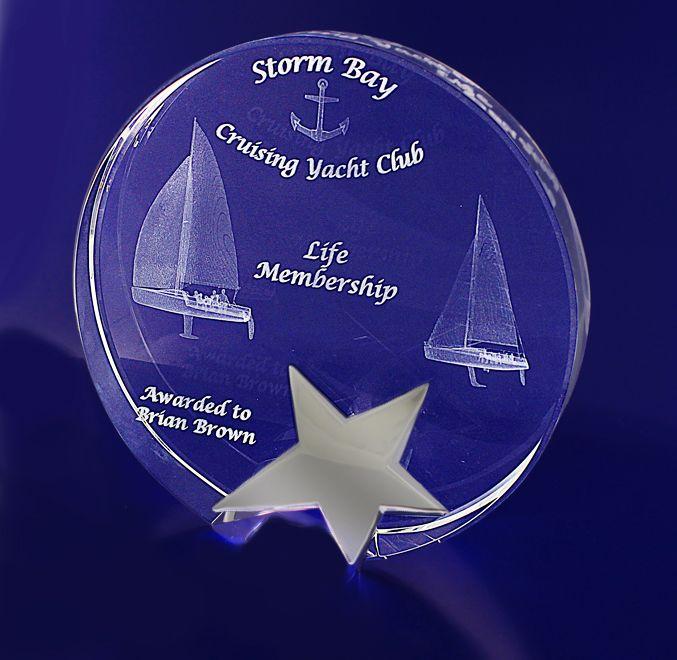 3D Crystal - Star Round Trophy